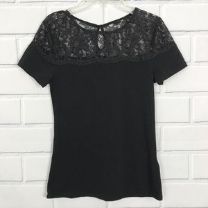 H&M Black Short Sleeve Top with Lace Collar Detail
